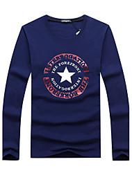cheap -Men's Sports Casual Active Plus Size Cotton T-shirt - Letter, Print Round Neck