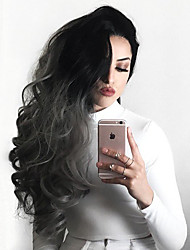Uniwigs Butterfly Synthetic Lace Front Wigs Body Wave Ombre Gray Hair