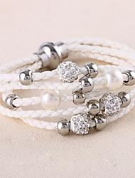 cheap -Men's Women's Leather Bracelet Wrap Bracelet Multi Layer Fashion Simple Style Punk Leather Rhinestone Circle Jewelry Wedding Daily Casual
