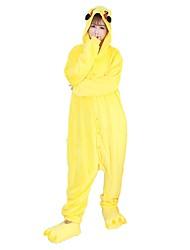 cheap -Adults' Kigurumi Pajamas with Slippers Pika Pika Onesie Pajamas Costume Flannel Fabric Cosplay For Animal Sleepwear Cartoon Halloween Festival / Holiday / Christmas