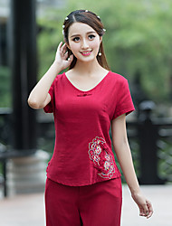 Women's Casual/Daily Chinoiserie T-shirt,Embroidery V Neck Short Sleeves Cotton Linen