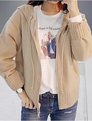 Standard Cardigan Da donna-Casual Tinta unita Con cappuccio Manica lunga Altro Primavera Inverno Medio spessore Media elasticità