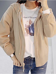 Women's Daily Regular Cardigan,Solid Hooded Long Sleeves Others Winter Spring Medium Micro-elastic
