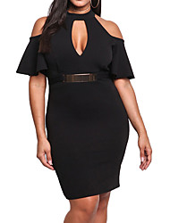 cheap -Women's Plus Size Work Shift Sheath Dress - Solid Colored Low Rise Mini V Neck