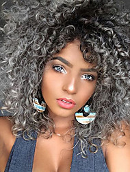 cheap -Synthetic Curly Wig Black Grey Ombre Hair Heat Resistant Kinky Curly Synthetic Women Wigs