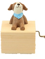 Music Box Toys Dog Resin Wood Lovely Pieces Unisex Birthday Gift