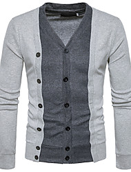 cheap -Men's Weekend Wool Slim Cardigan - Color Block V Neck