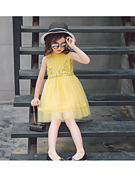 cheap -Girl's Solid Dress, Cotton Polyester Summer Sleeveless Lace Yellow