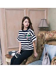 Damen Gestreift Einfach Ausgehen Lässig/Alltäglich T-Shirt-Ärmel Hose Anzüge,Rundhalsausschnitt Frühling Herbst Kurzarm Mikro-elastisch