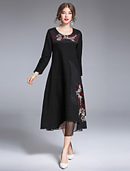8CFAMILY Women's Party Going out Casual/Daily Vintage Simple Chinoiserie A Line DressEmbroidered Round Neck Midi Long SleevesCotton Linen