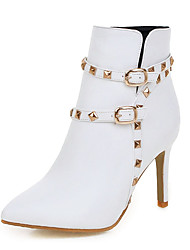 cheap -Women's Shoes Leatherette Winter Fashion Boots Boots Stiletto Heel Pointed Toe Booties/Ankle Boots Rivet Buckle Zipper for Casual Dress