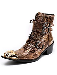 Men's Boots Knight Dragon Novelty Riding Fashion Cowhide Leather Casual Party & Evening Hot Sale