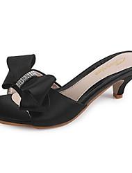 Damen Sandalen Fersenriemen Seide Sommer Normal Schleife Niedriger Absatz Schwarz Rot 5 - 7 cm