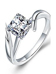 cheap -Women's Band Ring Cubic Zirconia Synthetic Diamond White Sterling Silver Zircon Rhinestone Geometric Luxury Classic DIY Elegant Simple