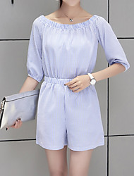 Women's Daily Casual Striped Off Shoulder Rompers,Loose Short Sleeve Summer Polyster