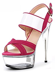 preiswerte -Damen Schuhe Beflockung Sommer formale Schuhe Sandalen Stöckelabsatz Peep Toe Kristall / Schnalle / Kombination Weiß / Schwarz / Fuchsia