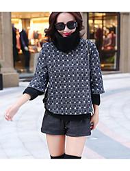 abordables -Mujer Simple Noche Invierno T-Shirt Pantalón Trajes,Cuello Alto A Lunares Manga Larga Microelástico