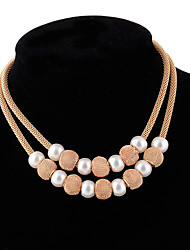 Women's Pendant Necklaces Imitation Pearl Round Imitation Pearl Alloy Fashion Vintage Classic Costume Jewelry Jewelry For Wedding Party