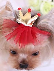 baratos -Cachorro Acessórios de Cabelo Roupas para Cães Tiaras e Coroas Vermelho / Azul / Rosa claro Tecido Ocasiões Especiais Para animais de estimação Homens / Mulheres Casual