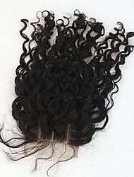 Горячие продажи 100% человеческих волос кудрявые прямые кружева закрытия3,5 * 4 с детским отбеливаемым сук узлы