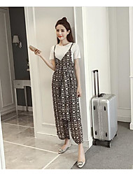 Damen Solide Muster Einfach Lässig/Alltäglich T-Shirt-Ärmel Hose Anzüge,Rundhalsausschnitt Sommer Kurzarm