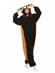 cheap -Kigurumi Pajamas with Slippers Bear Raccoon Onesie Pajamas Costume Coral fleece Cosplay For Adults' Animal Sleepwear Cartoon Halloween