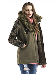 cheap -Maxlindy Women's Regular Padded Coat,Vintage Street chic Sophisticated Daily Going out Print Camouflage-Polyester Polyester Polypropylene Long