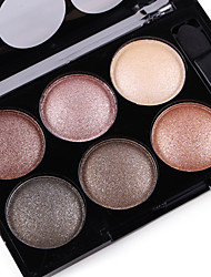 Alpha Pro 6 Color Natural Glitter Silky Shimmer Naked Eye Shadow Plate Nude Eyeshadow Powder Smoky Eyes Makeup Cosmetic Palette & Brush Set