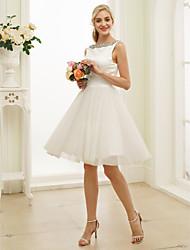 povoljno -A-kroj / Princeza Bateau Neck Do koljena Saten / Til Izrađene su mjere za vjenčanja s Perlica po LAN TING BRIDE® / Male bijele vjenčanice