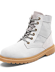 cheap -Women's Shoes Suede Canvas Winter Fall Comfort Boots Flat Heel Round Toe Lace-up for Casual Outdoor Black Gray Khaki