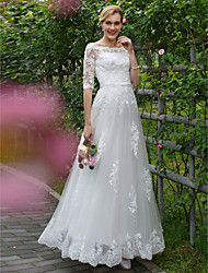 cheap -A-Line Princess Off Shoulder Floor Length Lace Tulle Custom Wedding Dresses with Appliques Sashes / Ribbons by LAN TING BRIDE®