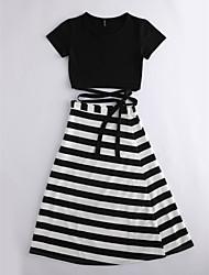 abordables -Mujer Camiseta - Un Color A Rayas Falda