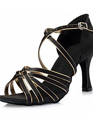 abordables -Femme Chaussures Latines Soie Talon Ruban Talon Aiguille Chaussures de danse Noir et Or / Intérieur / Cuir