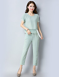 cheap -Women's Daily Holiday Going out Street chic Summer Fall T-shirt Pant Suits,Solid Round Neck Short Sleeve Linen