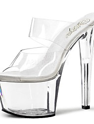 Women's Sandals Slippers Summer PVC Dress Party & Evening Crystal Lace-up Stiletto Heel Clear 5in & over