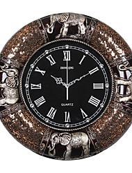 Traditionnel Rustique Décontracté Animaux Horloge murale,Rond Eléphant Horloge Résine Intérieur Horloge