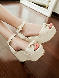 cheap -Women's Shoes PU Summer Comfort Sandals Chunky Heel Open Toe For Casual Beige Blue Blushing Pink