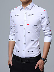 cheap -Men's Business Casual Cotton Slim Shirt Print