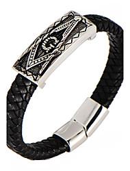 Недорогие -Муж. Браслет цельное кольцо Браслет разомкнутое кольцо Кожаные браслеты - Нержавеющая сталь, Кожа, Титановая сталь металлический, На заказ, Геометрия Браслеты Серебряный Назначение