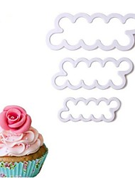 cheap -3 Pcs/Set Rose Flower Cake Molds Plastic White Rose Flower Fondant Cutter Cake Decorating Molds Biscuit Cutter