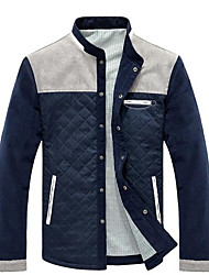 cheap -Men's Cotton Jacket - Solid Colored, Print Stand / Long Sleeve