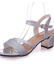 Da donna Sandali Con cinghia PU (Poliuretano) Estate Casual Footing Basso Nero Argento 5 - 7 cm