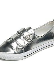 Women's Flats Comfort PU Summer Casual Dress Hook & Loop Flat Heel Green Ruby Silver Gold Flat