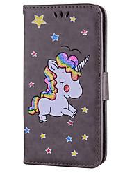 Недорогие -Кейс для Назначение SSamsung Galaxy J7 (2017) J3 (2017) Бумажник для карт со стендом Флип С узором Чехол единорогом Твердый Искусственная