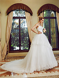cheap -Ball Gown Strapless Court Train Tulle Wedding Dress with Sequin Appliques by Embroidered Bridal