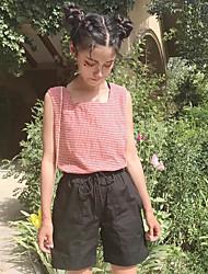 Mujer Simple Casual/Diario Tank Tops,Con Tirantes A Cuadros Sin Mangas Poliéster