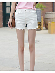 Women's High Rise Micro-elastic Shorts Pants,Simple Straight Solid