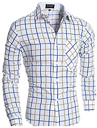 Men's Going out Active Shirt,Solid Striped Geometric Shirt Collar Half Sleeve Cotton Linen Polyester