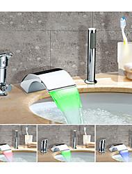 abordables -Changement de couleur Artistique Diffusion large Jet pluie Multi-teintes Soupape céramique Mitigeur Trois trous Chrome, Robinet de