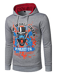 Men's Daily Casual Hoodie Print Hooded Micro-elastic Cotton Polyester Long Sleeve Spring Fall